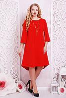 Женское яркое красное платье свободно кроя по колено с коротким рукавом