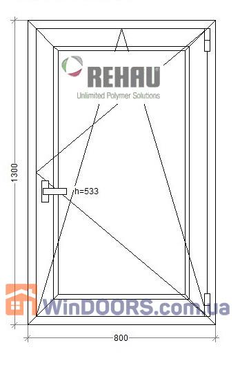 МП Окно в Частный Дом (ПВХ) 800х1300 Rehau Euro-60