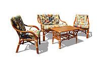 Комплект плетеной мебели из натурального ротанга с 2-местной софой