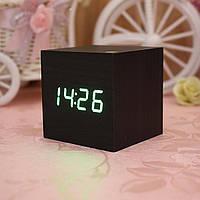 Часы светодиодные с будильником (под дерево) 1293 с зеленой подсветкой