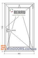 МП Окно в Частный Дом (ПВХ) 800х1300 Rehau Euro-70 энергосберегающее