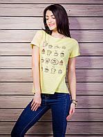Женская футболка с рисунком цвет желтый p.42-50 VM1925-1