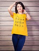 Женская футболка с рисунком цвет оранжевый p.42-50 VM1925-2