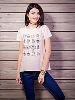 Женская футболка с рисунком цвет пудра p.42-50 VM1925-3