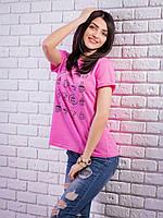 Женская футболка с рисунком цвет розовый p.42-50 VM1925-4