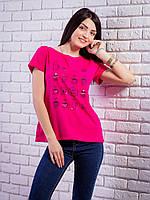 Женская футболка с рисунком цвет малиновый p.42-50 VM1925-6