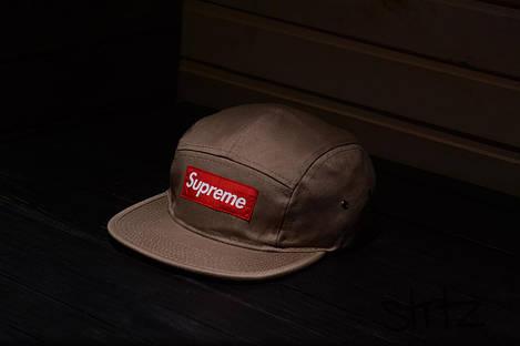 Пятипанельная кепка Supreme бежевая