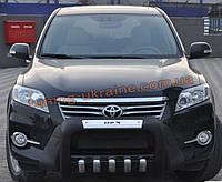 Кенгурятник усиленный из нержавейки и полиуретана на Toyota Rav4 2010-2013