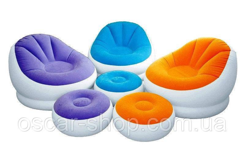 Крісло надувне велюрове з пуфом Intex Інтекс 104х109х71