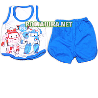Детский летний костюм р. 74 для мальчика тонкий ткань КУЛИР 100% хлопок 3587 Голубой