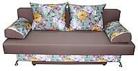 Серая с яркими цветами Софа Эко с мягкими валиками-подлокотниками