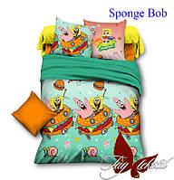 Полуторный комплект детского постельного белья ранфорс Sponge Bob  TM TAG