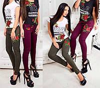 Джинсы женские с вышивкой цвет бордо-ежевика 29 размер Турция