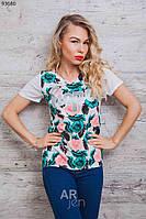 Яркая женская футболка с принтом Цветы p.46-48 A93680-1