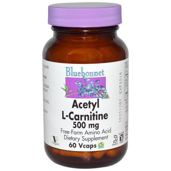 Bluebonnet Nutrition, Ацетил L-карнитин,500 мг, 60 вегетарианских капсул