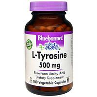 Bluebonnet Nutrition, L-тирозин, 500 мг, 100 вегетарианских капсул