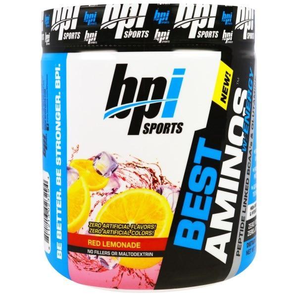 BPI Sports, Энергетическая аминокислотная добавка, ВСАА и глютамин, связанные в пептидную цепь, Красный лимонад, 10,58 унции (300 г)