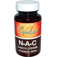 Carlson Labs, NAC, N-ацетилцистеин, 500 мг, 60 капсул