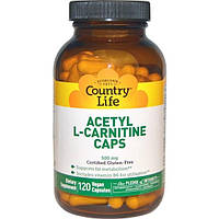 Country Life, Ацетил-L-карнитин в капсулах, 500 мг, 120 вегетарианских капсул