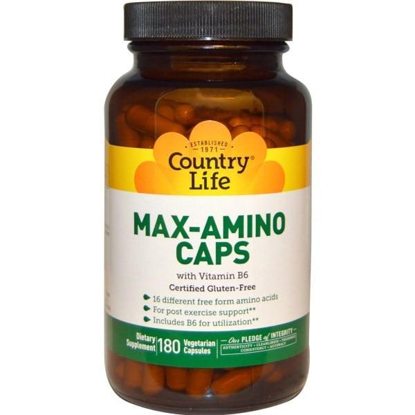 Country Life, Max-Amino в капсулах, с витамином B6, 180 вегетарианских капсул - Интернет-магазин для здоровой жизни в Киеве