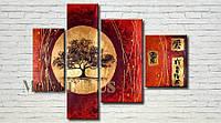 """Модульная картина """"Восточное дерево"""" масло, холст!"""
