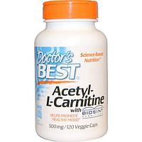 Doctors Best, Ацетил-L-карнитин, 500 мг, 120 вегетарианских капсул