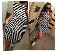 Легкое летнее платье туника в полоску тельняшка