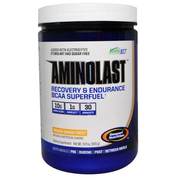 Gaspari Nutrition, Супертопливо для восстановления и повышения выносливости с BCAA (аминокислоты с разветвленной цепью) Aminolast, Манго-апельсин,
