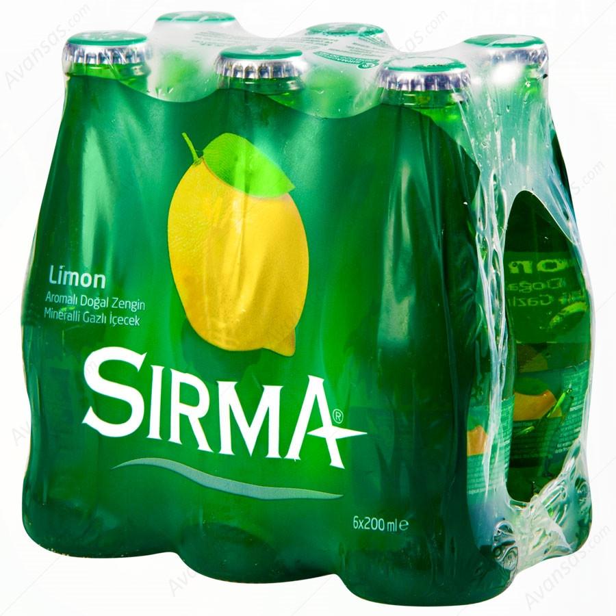 Вода натуральная минеральная газированная  с ароматом лимона 200 мл (Limonlu Maden Suyu) ТМ SIRMA