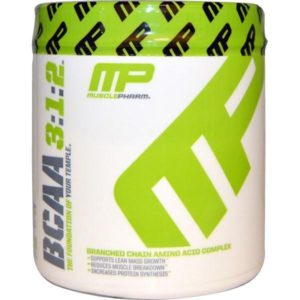 Muscle Pharm, BCAA (амінокислоти з розгалуженими бічними ланцюгами), 3:1:2, неароматизований порошок, 0,39 фунта (180 г)