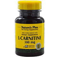 Natures Plus, L-карнітин, 300 мг, 30 капсул вегетаріанських