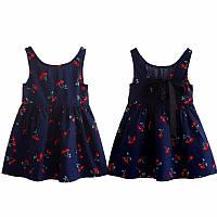 Детское летнее платье с принтом, лента на спине Вишня Синий