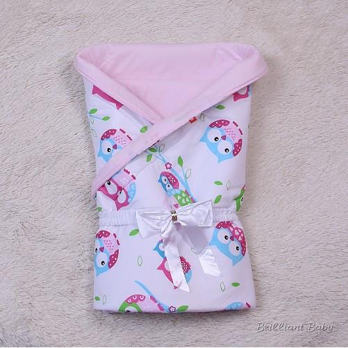 """Летний яркий конверт-одеяло """"Valleri"""", (совы розовый)"""