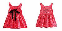 Детское летнее платье с принтом, лента на спине Цветок розовый