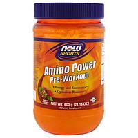 Now Foods, Спортивное питание, мощный аминокомплекс перед тренировкой, натуральный клубничный вкус, 21,16 унция (600 г)