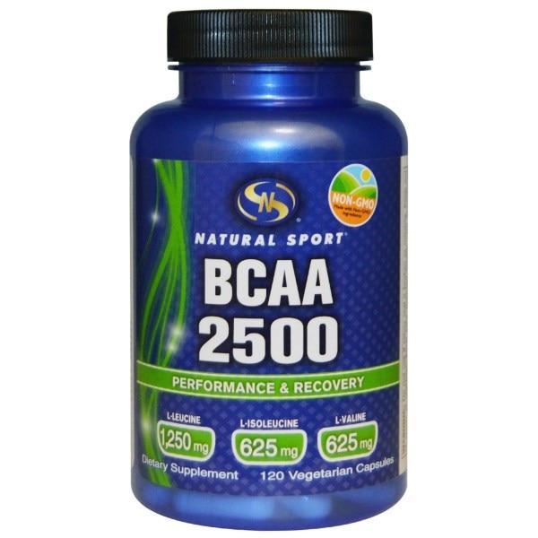 Natural Sport, Аминокислоты с разветвленной цепью 2500, 120 вегетарианских капсул