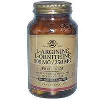 Solgar, L-аргинин, L-орнитин, 500 мг/250 мг, 100 растительных капсул