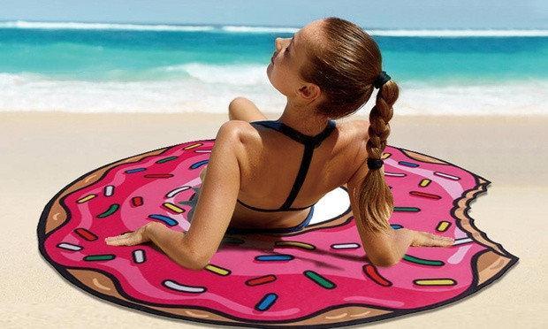 Коврик пляжный подстилка Пончик