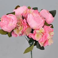 Букет пионов и гортензий розовый  35см Цветы искусственные