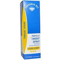 Savannah Bee Company Inc, Спрей для горла с прополисом, Сильный & мятный, 1 унция (30 мл)