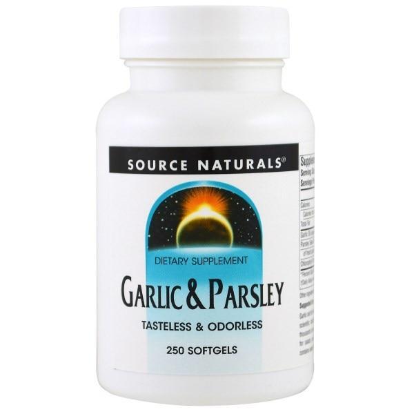 Source Naturals, Часник і петрушка, 250 гельових капсул