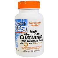 Doctors Best, Куркумин высокого усвоения, 500 мг, 120 капсул