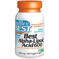 Doctors Best, Альфа-липоевая кислота (Best Alpha-Lipoic Acid), 600 мг, 180 растительных капсул