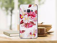 Чехол накладка силиконовая для Samsung Galaxy J1 J20 с рисунком букет цветов на белом фоне