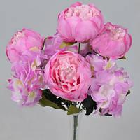 Букет пионов и гортензий сиренево- розовый  35см Цветы искусственные