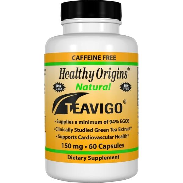 Healthy Origins, Зеленый чай Teavigo, без кофеина, 150 мг, 60 капсул