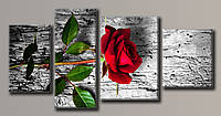 """Модульная картина на холсте из 4-х частей """"Красная роза"""""""