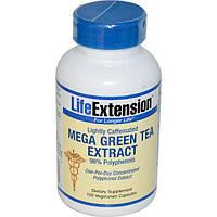 Life Extension, Мега экстракт зеленого чая, небольшое содержание кофеина, 100 растительных капсул