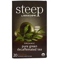 Bigelow, Стип, органический чистый зеленый чай без кофеина, 20 пакетиков, 0,86 унции (24 г)