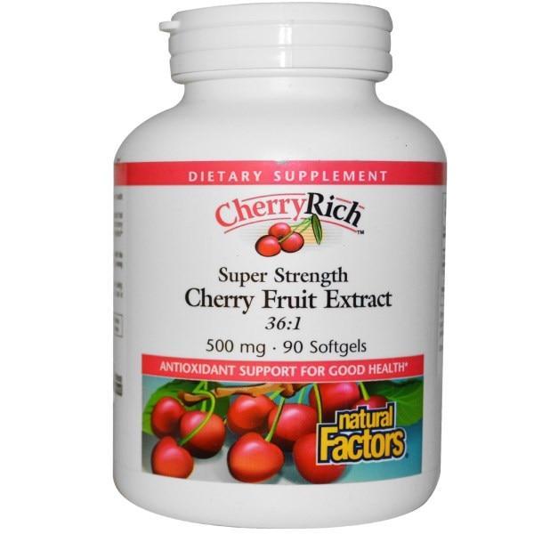 Natural Factors, CherryRich, сверхмощный экстракт плодов вишни, 500 мг, 90 мягких капсул